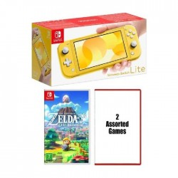Nintendo Switch Lite Gaming Console + The Legend of Zelda Link + 2 Assorted Games – Yellow