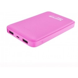 Promate Voltag-10c 10000mAh Ultra-Fast Power Bank With Dual USB Port - Pink
