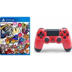 Sony PS4 Controller DualShock 4 Wireless Red + Super Bomberman R: PlayStation 4 Game