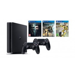 Sony Playstation 4 Slim 1TB Console + 2 Controllers + Dishonored 2 + Titanfall 2 + FIFA 17 - PS4 Game