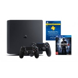 Sony Playstation 4 Slim 1TB Console + 2 Controllers + Uncharted 4: A Thief's End - Standard Edition + PSN Card