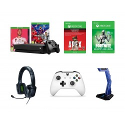 Xbox One X 1 TB Console + PES2020 + FIFA 20 + Xbox One S Wireless Controller + Xbox One Apex Legend Game Code + Tritton Kama Stereo Headset for Xbox One and Mobile Devices + Xbox One Fortnite Game Code  + EQ Sades Wolfbone Headset Stand (SA-D1)
