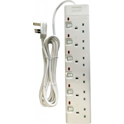 Philips 6-Sockets Power Extension 3M (SPN1962WB/56) - White