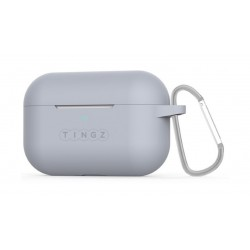 Tingz AirPods Pro Protective Silicon Case + Metal Carabiner - Grey