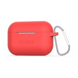 Tingz AirPods Pro Protective Silicon Case + Metal Carabiner - Red