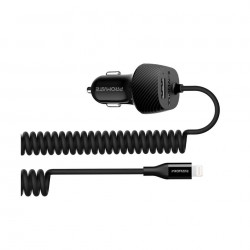 Promate Car Charger with 1.2 Meter Lightning Coiled Cable (VolTrip-i)