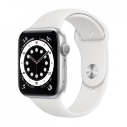 Apple Watch Series 6 GPS 44mm Aluminum Case Smart Watch - Silver / White