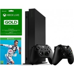 Xbox One X Standard Edition Console 1TB + Controller + 3 Months Live Card + FIFA 19: Xbox One Game
