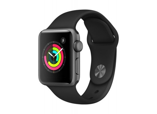 Apple Watch Series 3 38mm Space Gray Aluminum Case, Black Sport Band Smartwatch - MQKV2LL/A