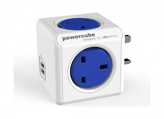 Allocacoc PowerCube Original Power Adapter with Dual USB Port (7200) - Blue