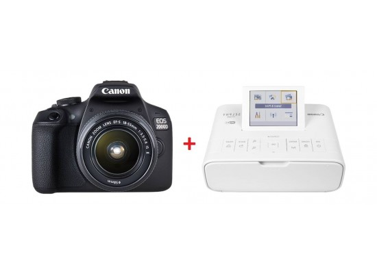 Canon EOS 2000D 24.1MP Wi-fi With 18-55 Lens + Canon SELPHY CP1300 Printer