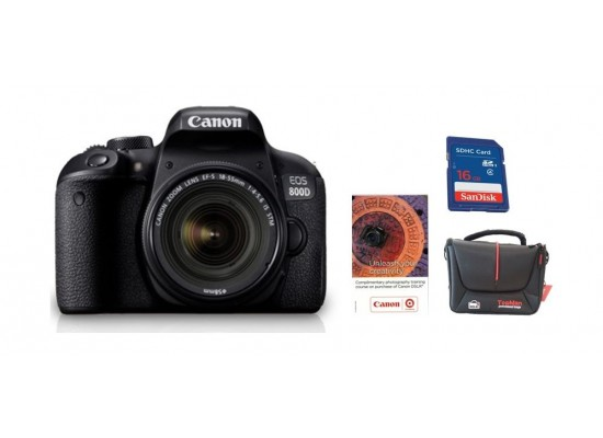 Canon EOS 800D 18-55 IS STM 24.2MP Digital SLR Camera + 16GB Memory Card + Bag + Voucher