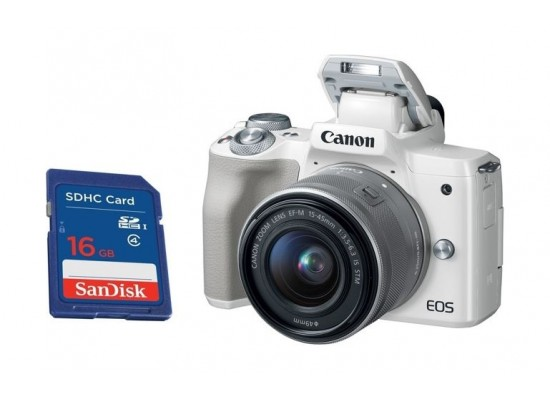 Canon EOS M50 Mirrorless Digital Camera With 15-45mm IS STM Lens White + Sandisk 16GB SHDC SD Memory Card