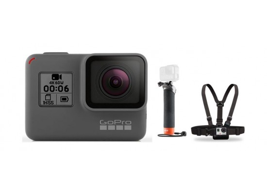 GoPro Hero 6 4K Ultra HD Camera + Chest Harness Mount + Floating Hand Grip Mount