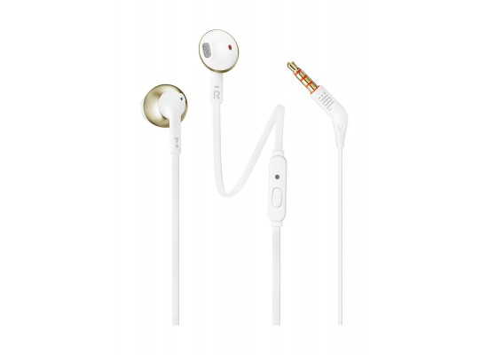 JBL T205 Wired Earphone With Microphone - Champagne Gold
