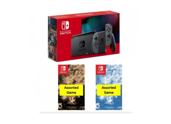 Nintendo Switch (Gray Joy-Con) Portable Gaming System with 2 Assorted Games