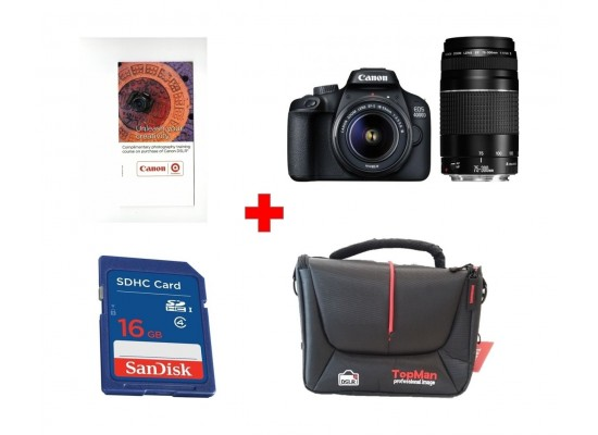 CANON Reflex camera EOS 4000D + 18-55mm + 75-300mm (3011C010AA) + Canon Photography Training Voucher + Sandisk 16GB SHDC SD Memory Card + Topman Camera Bag - Black