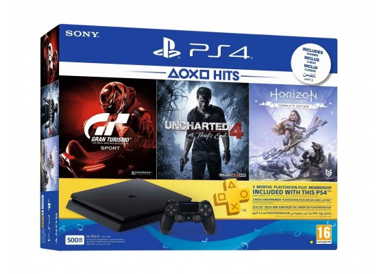 Sony PlayStation 4 Slim 500GB + Gran Turismo + Uncharted 4 + Horizon Zero Dawn + 3 Months PSN Card