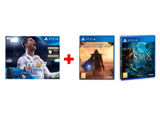 Sony PlayStation 4 Slim 1TB Gaming Console + Dualshock 4 Controller + FIFA  18 Game +Styx: Shards Of Darkness - PlayStation 4 Game + The Technomancer -