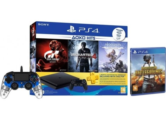 Sony PlayStation 4 Slim 500GB + 4 Games + 3 Months PSN Card + Bigben Nacon PS4 Wired Compact Controller