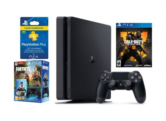 Sony PlayStation 4 Slim 1TB + Call of Duty: Black Ops 4 + Fortnite Game With PS4 DS4 Controller + PSN 90 Days