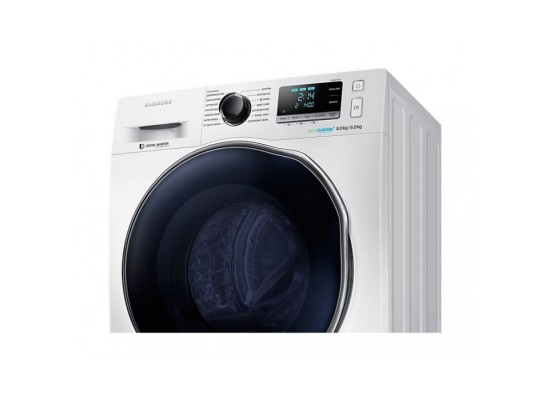 Samsung 7.5 / 6 Kg Front Load Washer / Dryer with Eco bubble – White  (WD80J6410AW)