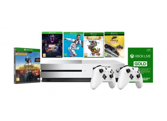 Xbox One S 1TB Console With 2 Controller + 4 Xbox One Games +