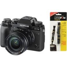 كاميرا فوجي فيلم الرقمية بدون مرآة مع عدسة ببعد بؤري ١٨-٥٥ ملم + منظف العدسات فوجي لينسبن