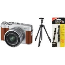 كاميرا فوجي فيلم الرقمية إكس - إيه ٥ القابلة لتبديل العدسة + عدسة ١٥ - ٤٥ ملم + ترايبود من فيلبون + منظف العدسات فوجي لينسبن