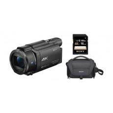 كاميرا فيديو فائقة الوضوح بدقة ٤ كي من سوني (FDR-AX53) + بطاقة الذاكرة إس دي سوني سلسلة إس إف - يو واي٣ بسعة ١٦ جيجابايت + حقيبة الكاميرا المرنة من سوني - أسود (LCS-U21)