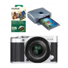 كاميرا فوجي فيلم اكس-ايه 3 مع عدسة اكس سي 15- 45 ملم - فضي  + طابعة فاينبكس QS7 + أوراق طباعة 120 نسخة