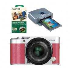 كاميرا فوجي فيلم اكس-ايه 3 مع عدسة اكس سي 15- 45 ملم - وردي  + طابعة فاينبكس QS7 + أوراق طباعة 120 نسخة