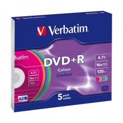 أقرص دي في دي + أر بسرعة ١٦ إكس وسعة ٤.٧ جيجابايت من فيرباتيم - ٥ أقراص ملونة