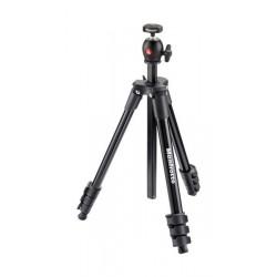 حامل كاميرا ثلاثي مع رأس كروي مدمج وخفيف الوزن من مانفروتو – ارتفاع ١٣١ سم – أسود (MKCOMPACTLT-BK)