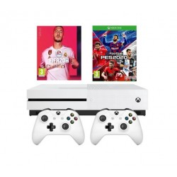 Xbox One S Console + 2 Controller + FIFA 20 + PES20 2