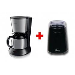 Wansa Manual Coffee Grinder135 Watts (CG9101) - Black + Philips Coffee Maker - HD7478/20