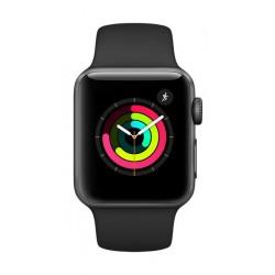 ساعة أبل الجيل الثالث مع هيكل رياضي من الألومنيوم الرمادي وحزام رياضي باللون الأسود - ٣٨ ملم MQKV2LL/A