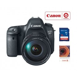 كاميرا كانون الرقمية ٦ دي بطول بؤري ٢٤ - ١٠٥ ملم + قسيمة تدريب على التصوير الفوتوغرافي + بطاقة الذاكرة سانديسك ١٦ جيجابايت