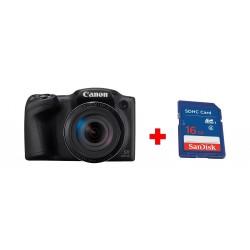 كاميرا كانون باورشوت الرقمية إس إكس ٤٣٠ بدقة ٢٠ ميجابكسل +  بطاقة الذاكرة سانديسك إس دي من نوع إس إتش دي سي - ١٦ جيجابايت