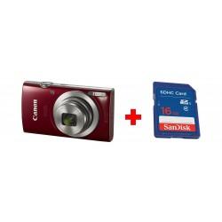كاميرا كانون إكسيس ١٨٥ الرقمية بدقة ٢٠ ميجابكسل - شاشة إل سي دي ٢,٧ بوصة - أحمر + بطاقة الذاكرة سانديسك إس دي من نوع إس إتش دي سي - ١٦ جيجابايت
