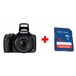 كاميرا كانون باور شوت الرقمية بدقة ١٦ ميجا بكسل + بطاقة الذاكرة سانديسك إس دي من نوع إس إتش دي سي - ١٦ جيجابايت