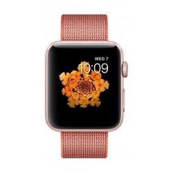 ساعة أبل الجيل الثاني بهيكل ذهبي من الألومنيوم وحزام من النايلون المنسوج باللون البرتقالي الفاتح - ٤٢ ملم