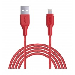 Aukey CB-AL2 2Meter Braided Nylon MFI Apple Lightning  Cable - Red