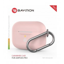 Baykron Airpods Pro Silicone Case with Carabiner - Pink