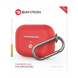 Baykron Airpods Pro Silicone Case with Carabiner - Red