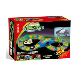 Glow In The Dark Track Playset Police Car 154 Pcs - B739403
