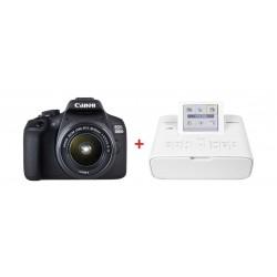 كاميرا كانون الرقمية إي أو إس ٢٠٠٠دي بدقة ٢٤,١ ميجابكسل واي فاي مع عدسة ١٨ - ٥٥ ملم + طابعة الصور اللاسلكية المدمجة سيلفي من كانون (CP1300)
