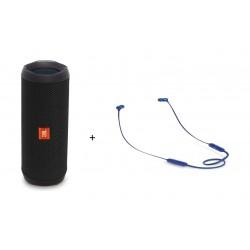 JBL Flip 4 Wireless Bluetooth Speaker Black + JBL T110BT Earphone Blue