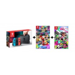 Nintendo Switch Console + Mario Kart 8 Game + Spaltoon Game + Accessory +  Game
