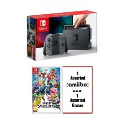 Nintendo Switch Console + Super Smash Bros Game + 1 Assorted Game + 1 Assorted Amiibo